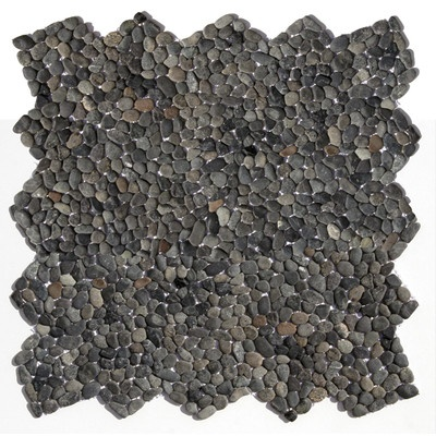 "Solistone Decorative Pebbles 12"" x 12"" Interlocking Mesh Tile in Barbados Black"