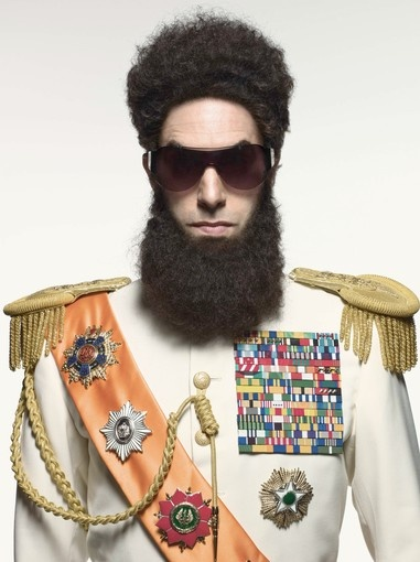 'The Dictator,' ( Mark Seliger / Paramount ) A dictator puts his life on the line to avoid democracy overtaking his beloved country. With Sacha Baron Cohen, Megan Fox, Anna Faris, Ben Kingsley, John C. Reilly,	B.J. Novak, Kevin Corrigan and J.B. Smoove. Directed by Larry Charles.