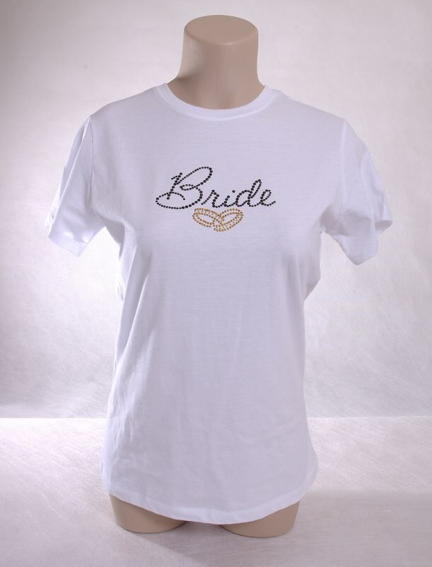 Bride Ladies T with rings.  Available in many color shirts and stones.  shell@sparklesbyshell.com  724-310-3990  #bride #bridal #wedding #rhinestone #bling
