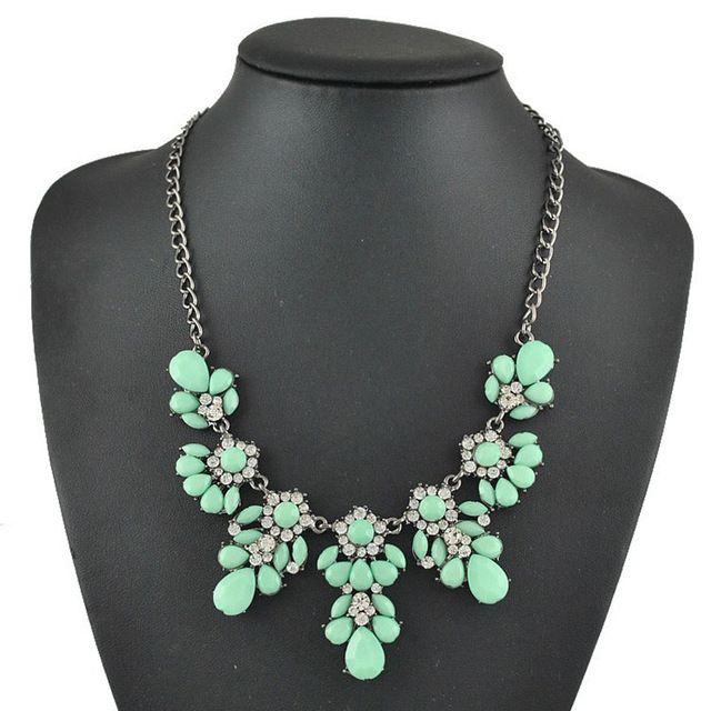 Новый 5 Цвет Искусственного Камня Заявление Ожерелье бренд ювелирных изделий Колье Ожерелья для Женщин Ювелирные Изделия ожерелья подвески