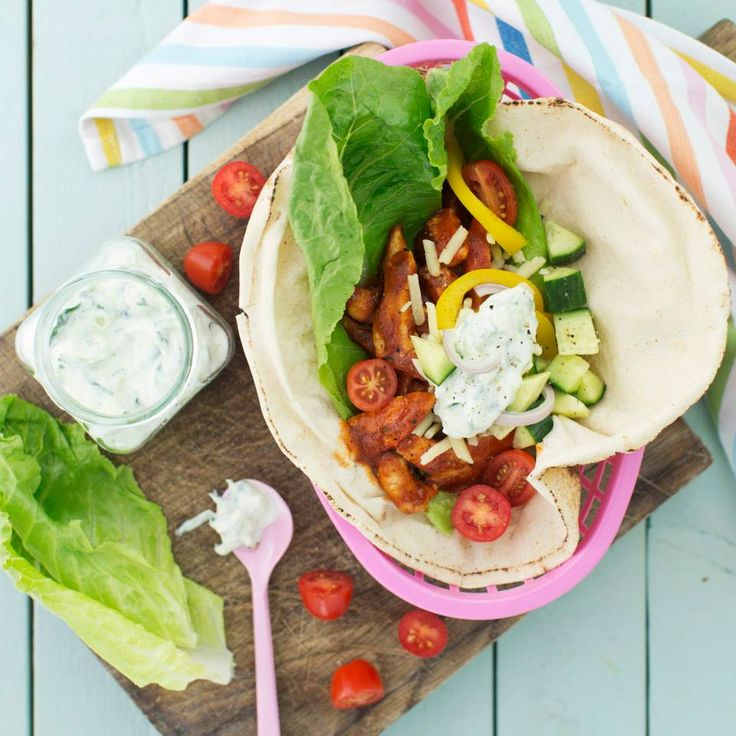 En riktig god kebab variant, kycklingkebab i libabröd med gurkyoghurt. #Barnmat
