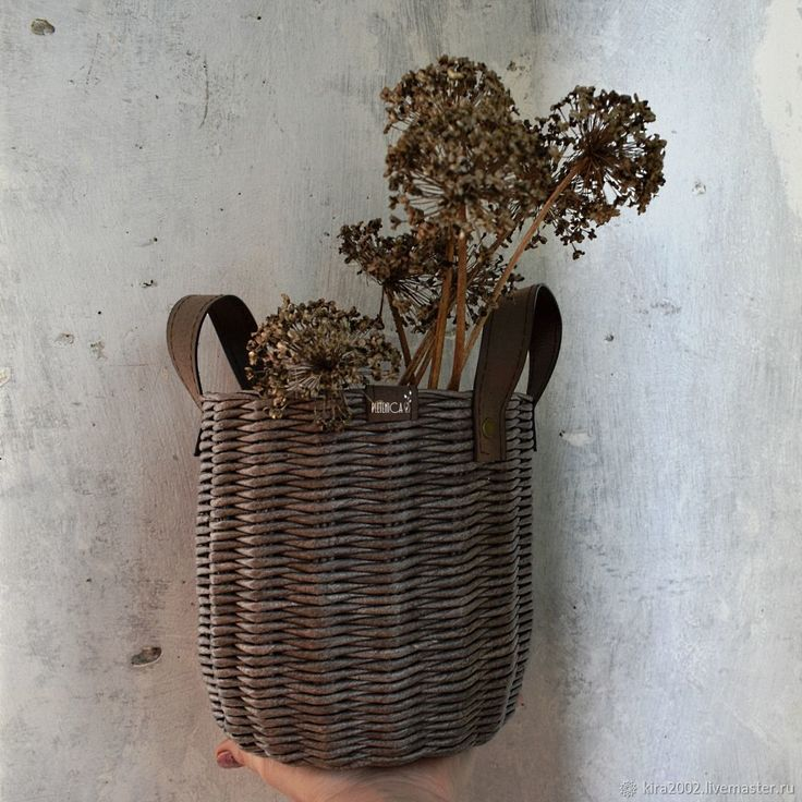 """Купить Плетеная корзина-бочонок """"Сhocomoco"""", кожаные ручки - шоколад, для дома, интерьер, корзина, коричневый"""