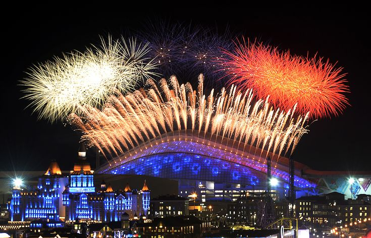 Sochi 2014: The Opening Ceremony - In Focus - The Atlantic - Fireworks explode over the Fisht Olympic Stadium at the beginning of the Opening Ceremony of the Sochi Winter Olympics on February 7, 2014 in Sochi. (Alexander Nemenov/AFP/Getty Images)
