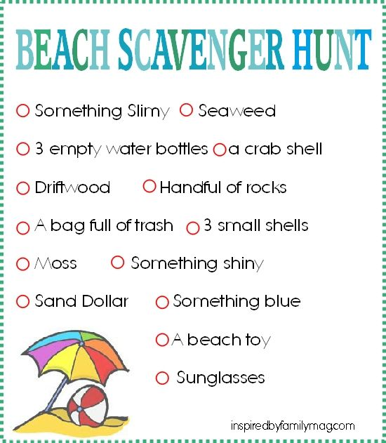 beach scavenger hunt for the 1st Jasperson Family beach vacation (minus the garbage. Good cause but, they'd need gloves to pick up trash...)
