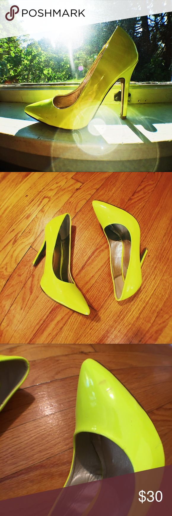 NEW 👠 Highlighter Neon Pumps These are in good condition with some minor signs of wear and some scuffs which are pictured! Please see pictures for heel measurements 😊 Qupid Shoes Heels