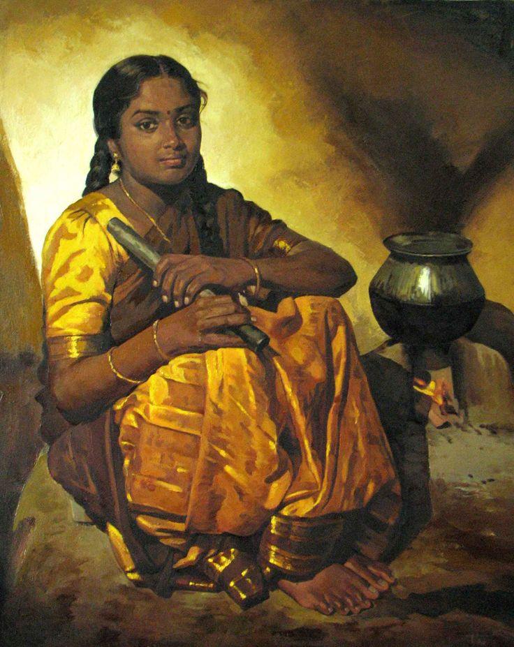 Tamil girl cooking rice - Painting by S. Elayaraja (www.elayarajaartgallery.com)