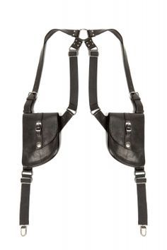 "Suspender holster bags with detachable leather bags, suspender clips, and ""O"" ring harness detail on center back."