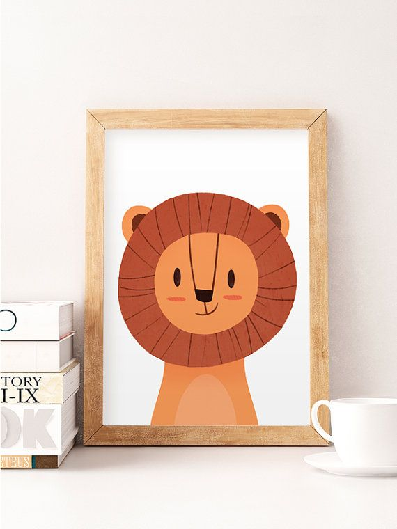 Lion illustration, Kids room art, Cute animals print, Animals wall art, Wall…