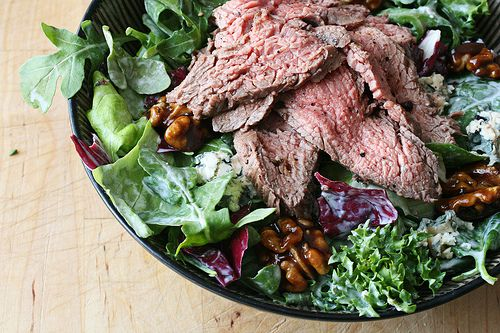 Black and Blue Flank Steak Salad with Honey-Balsamic Candied Walnuts and Blue Cheese Dressing