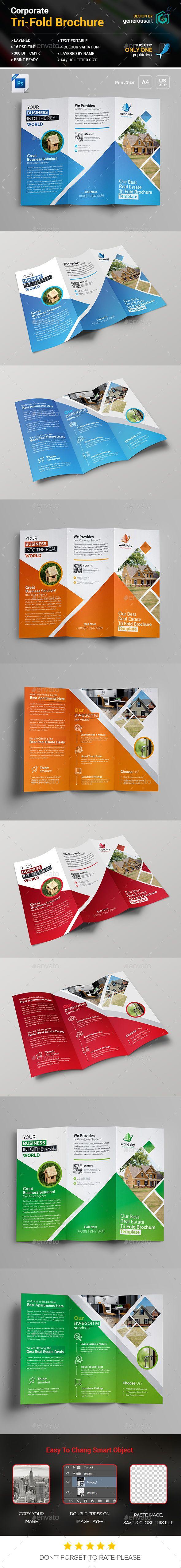 Real Estate Tri-Fold Brochure Template PSD
