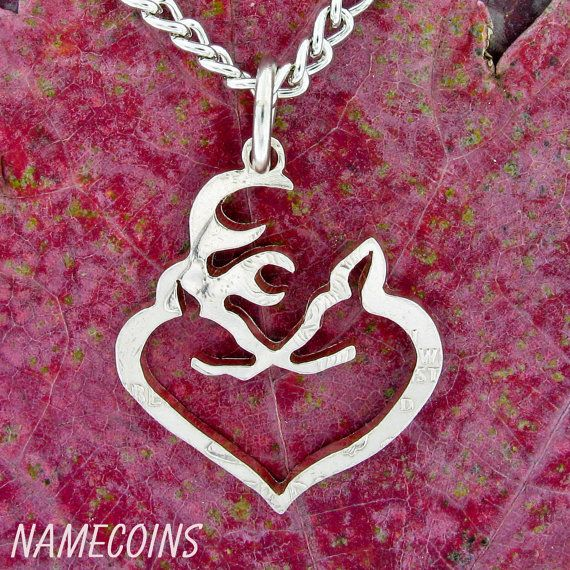 Buck+and+Doe+Heart+Freestanding+In+Quarter+hand+cut+by+NameCoins,+$34.99