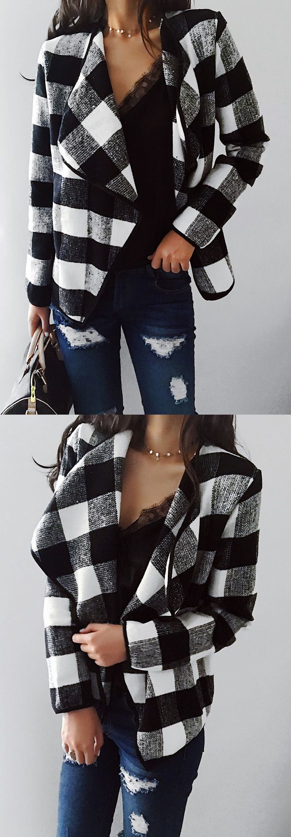 $33.99! Chicnico Fashion Open Collar Batwing Sleeve Gingham Oversize Cardigan ready for Fall fashion! Find fashionable outfits for the new