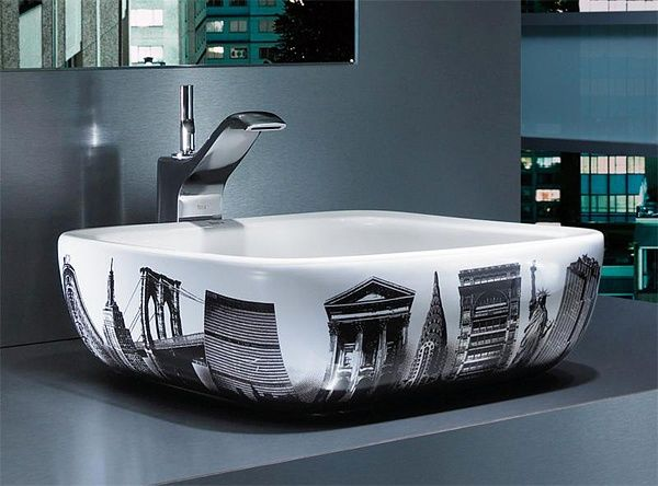 La vasque salle de bain de Roca avec le thème New York
