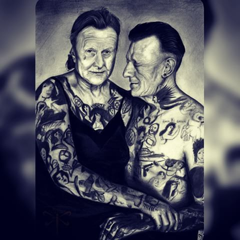 Finished (A4) ! Quite happy with it!  Do your grandparents have tattoos?  #draw #drawing #graphite #pencil #grayscale #realism #old #couple #tattoo #love #grandpa #grandma #ink #art #artist #artoftheday #vintage #portrait