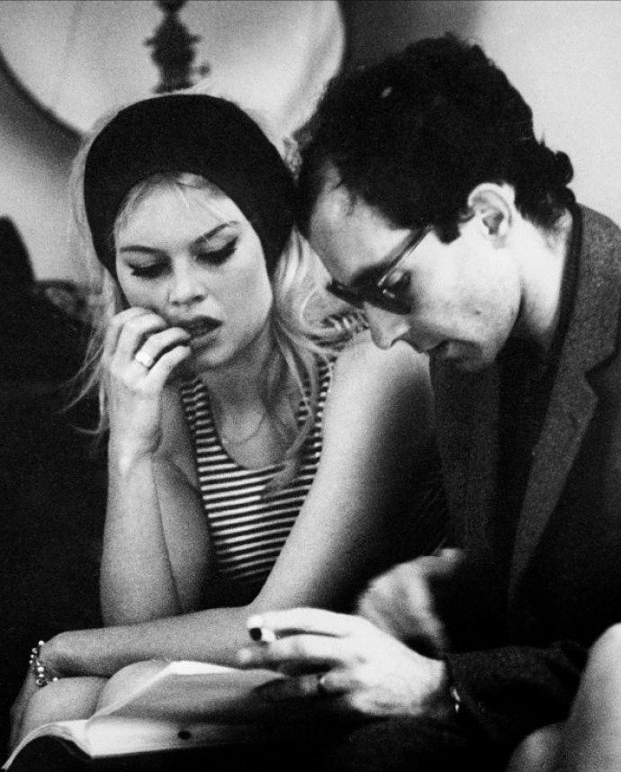 Brigitte Bardot & Jean Luc Godard on the set of Contempt