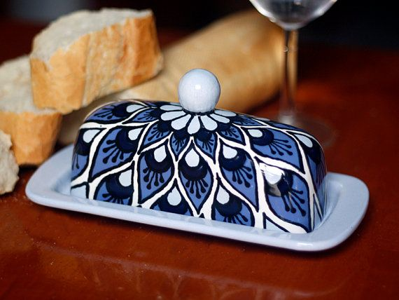 Blue Peacock Talavera Style Butter Dish by TheTikiQueen on Etsy, $39.95