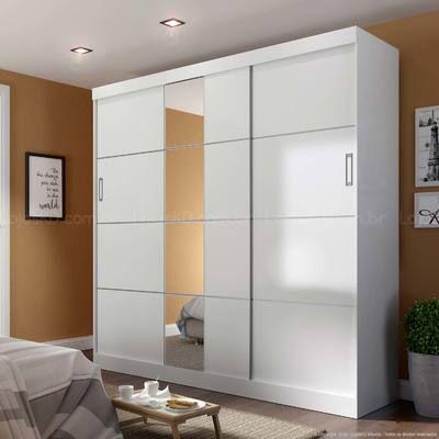 Guarda-roupa 3 Portas de Correr com Espelho Veneto Branco - Manto Móveis