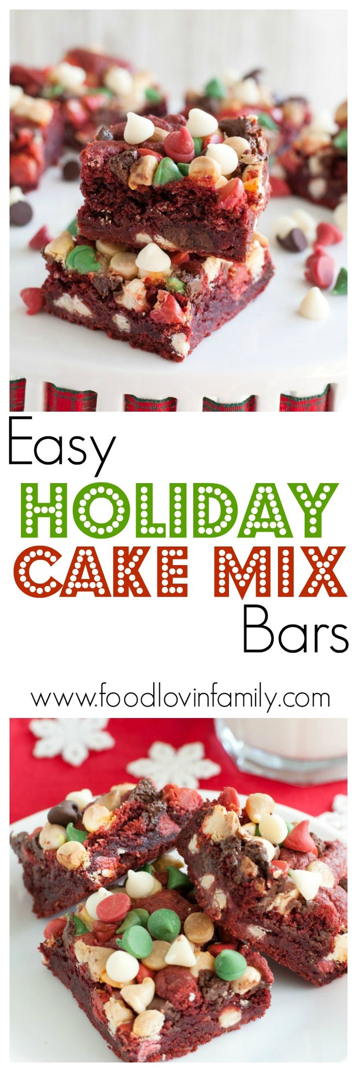 Easy holiday cake mix bars are filled with chocolate chips and red velvet cake. These bars are ooey gooey amazing! Bring them to your next holiday party.    http://www.foodlovinfamily.com/easy-holiday-cake-mix-bars/