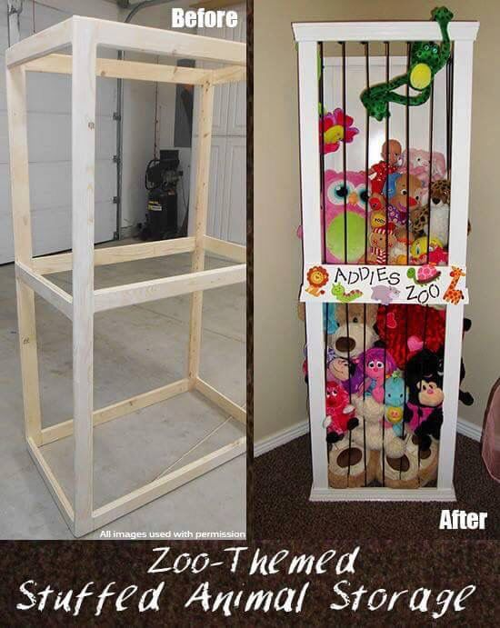 """Build frame and use bungee cords to create a """"zoo"""" for kid's stuffed animals."""