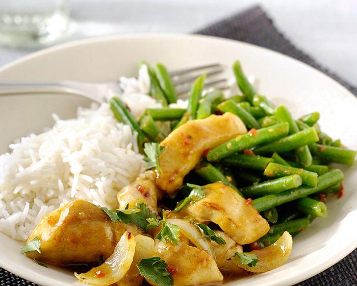 Kip met sperziebonen en rijst recept