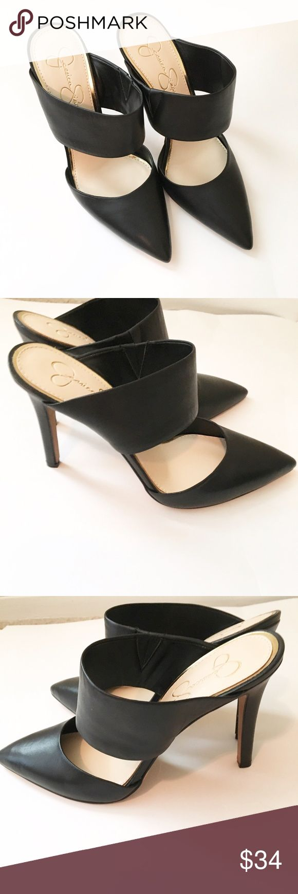 """Jessica Simpson Black Pointed Toe Heels These heels are a staple for any closet! They are perfect for the office or for going out. EUC, soles are clean as shown. Only flaw - a small nick on the back of one of the heels as shown. Approx. 4"""" heel height. Open to offers or bundle and save 15%! Jessica Simpson Shoes Heels"""