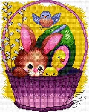 cross stitch pattern free download as pdf file with rabbit and egg