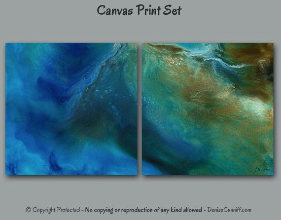 Large Wall Art Square Diptych Abstract Canvas Print Set 2 Piece Teal Turquoise Blue Green Brown Gold Office Artwork Bedroom Decor Home