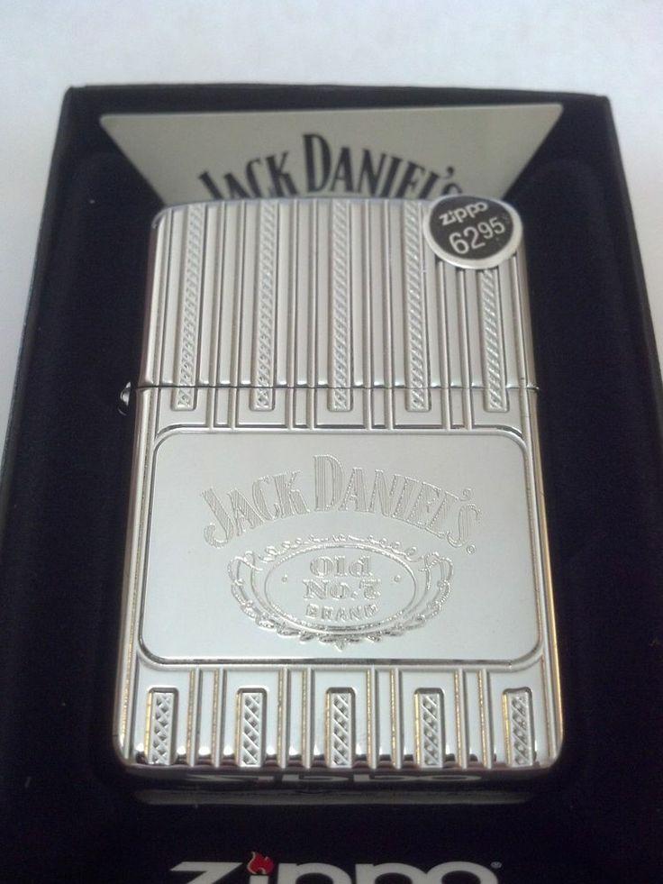 #28144 Jack Daniel's High Polish Chrome Armor Case Windproof Zippo Lighter