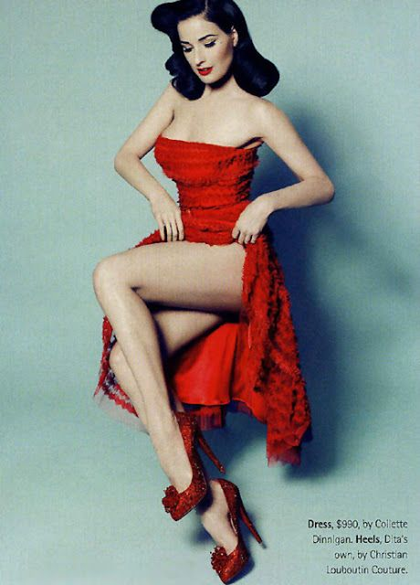 Many women want that lovely dress. & those shoes. & dita's legs & overall loveliness!