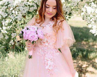 Maternity bridal dress Bohemian dress Summer bridal dress Pink bridal gown – Edi… – Maternity wedding dress
