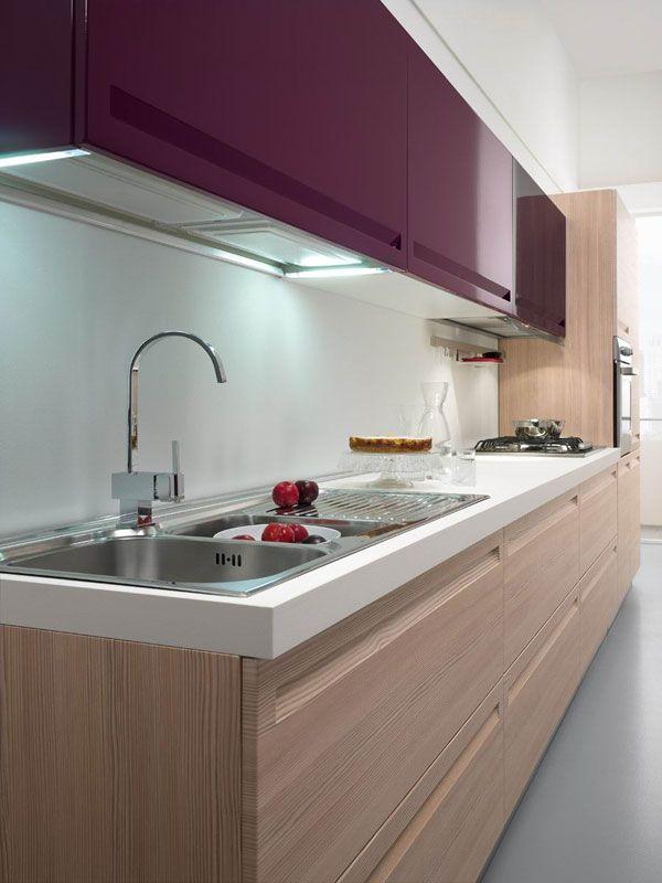 purple / light wood texture / white worktop modern kitchen