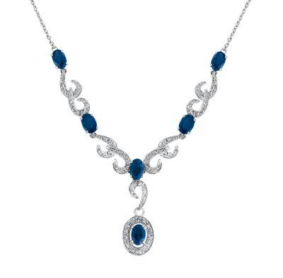 Gargantilla oro blanco 14k con 30 puntos de diamante y 335 puntos de zafiro  Precio boutique $22,615.00 Precio tienda online $19,901.00
