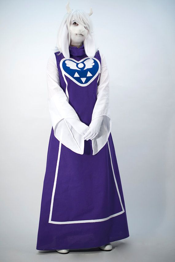 Toriel cosplay dress in royal purple and royal blue Kona cotton with white Kona cotton sleeves and applique! THIS LISTING IS FOR DRESS ONLY, if