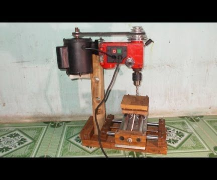 DIY Mini Wood Mill Router Milling Machine by Slide Axis CNC and Table Press Drill