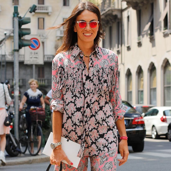 mixed prints and mirrored sunglasses