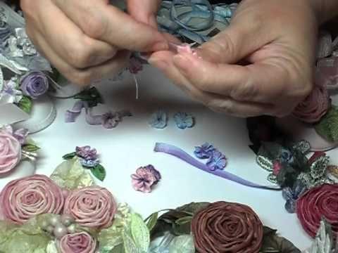 I ❤ ribbonwork . . . ▶ How to Make French Ribbonwork Leaves and Filler Flowers - YouTube