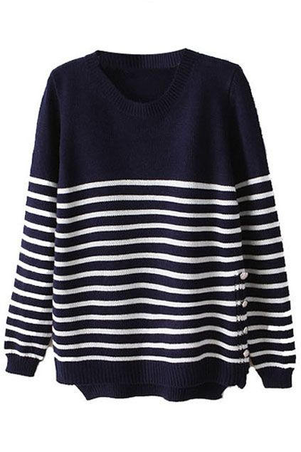 Asymmetric Striped Dark Blue Sweater