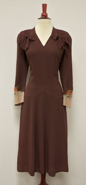 1940's Beaded Crepe Dress