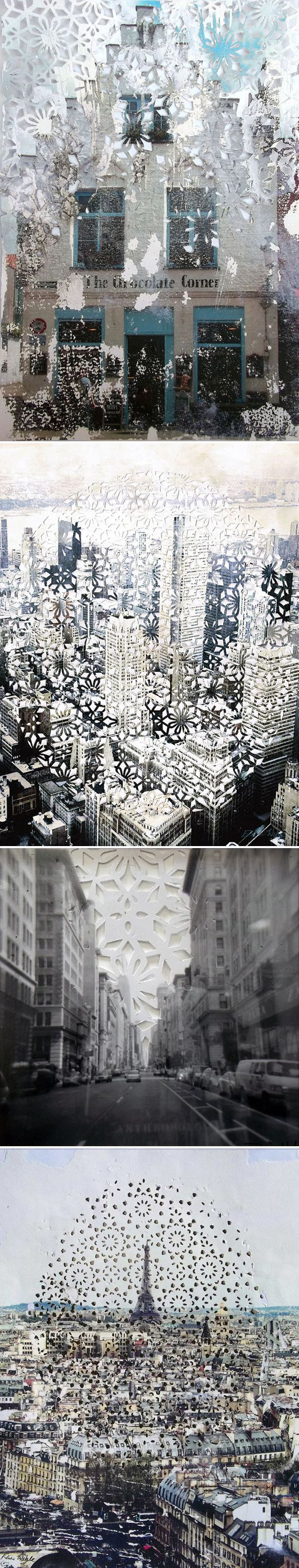 elise wehle - paper cutting/mixed media {cityscapes} ,