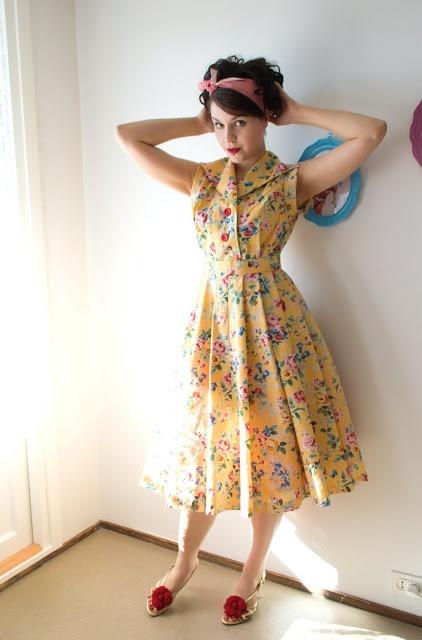 50s style floral shirt waist dress by cherise