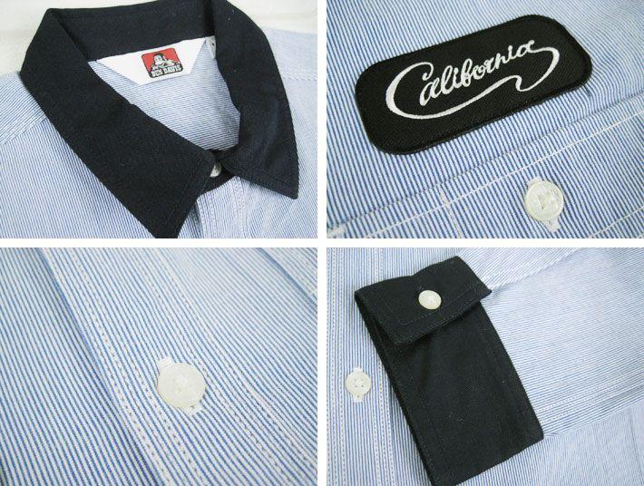 Casualshop JOE | Rakuten Global Market: BEN DAVIS Ben Davis weld shop shirt SH-5380011 ( men's / tops / long sleeve / long sleeve shirt / work shirt and striped fabric / emblem / Ben Devi )