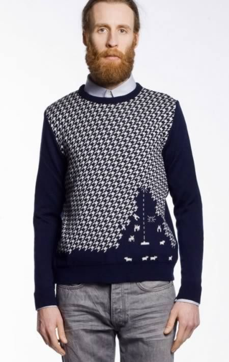 The French fashion design house, Monsieur Lacenaire, offers a classy sweater for old school gamers. Space Invaders? Certainly not. That's a copyrighted game and completely different.Beards, Christmas Parties, Invaders Sweaters, French Fashion, Spaces Invaders, Men Style, Sheep Invaders, Space Invaders, Christmas Sweaters
