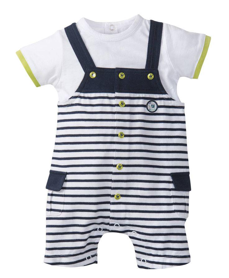 Ensemble salopette bébé garçon rayé - Ensemble, Combinaison Mode Bébé garçon Terre de Marins