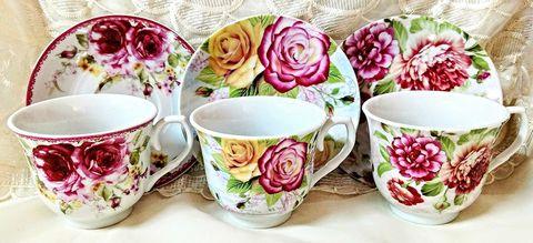 Assorted Rose Bulk Porcelain Teacups and Saucers include 6 Tea Cup & 6 Saucers