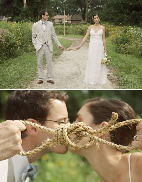"""Modern Twist to """"Tying the Knot"""" - Take the visual meaning for marriage & create a fun & romantic wedding photos! Xx"""