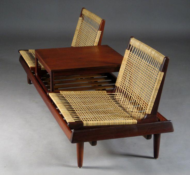 Hans Olsen; Teak and Cane Modular Seating for N. A. Jørgensen, 1957.
