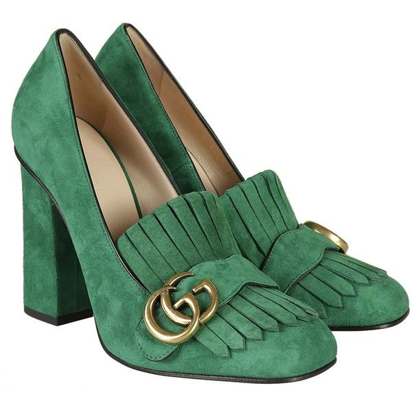 Gucci High-heeled shoes ($535) ❤ liked on Polyvore featuring shoes, pumps, green, gucci footwear, green pumps, green suede shoes, suede pumps and green high heel pumps