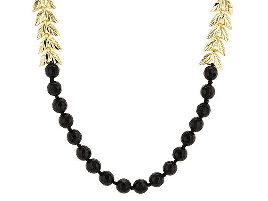 We've fallen in love with this black and gold necklace! And you will too! - Moda Di Pietra(Tm) 8mm Round Black Agate 18k Yellow Gold Over Bronze Necklace