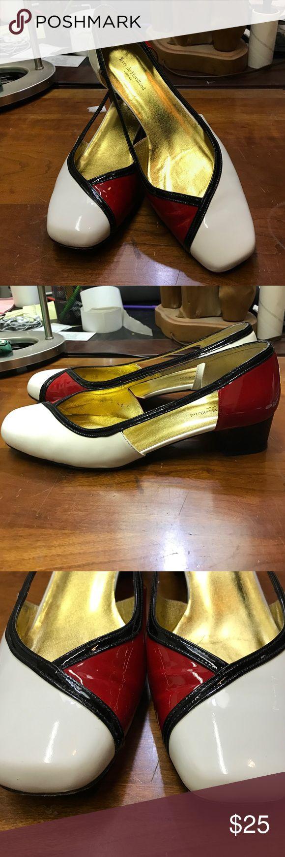 Terry de Havilland Patent Colorblock Pump Terry de Havilland  • Size: 8 • Color: Red, White, Black • Patent Leather Color block PumpsCondition: Wear on soles, light wear on insoles Terry de Havilland Shoes