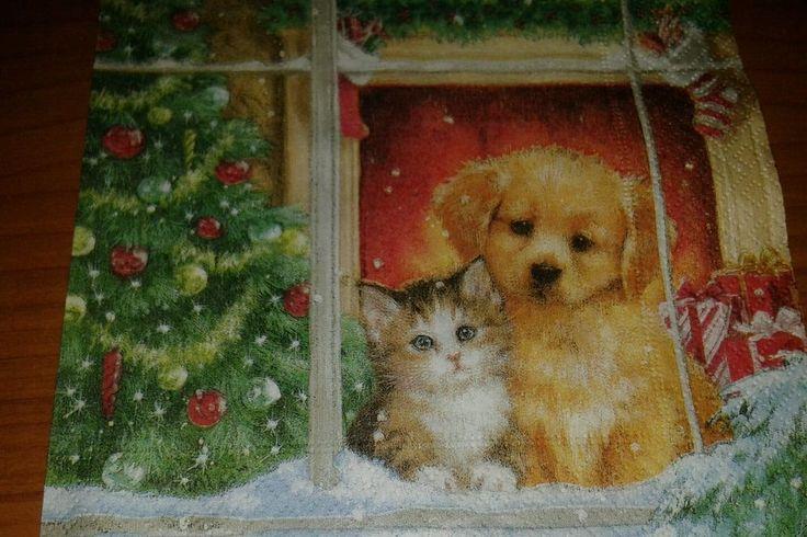 4 tovaglioli decoupage collezione soggetto Natale cane gattino